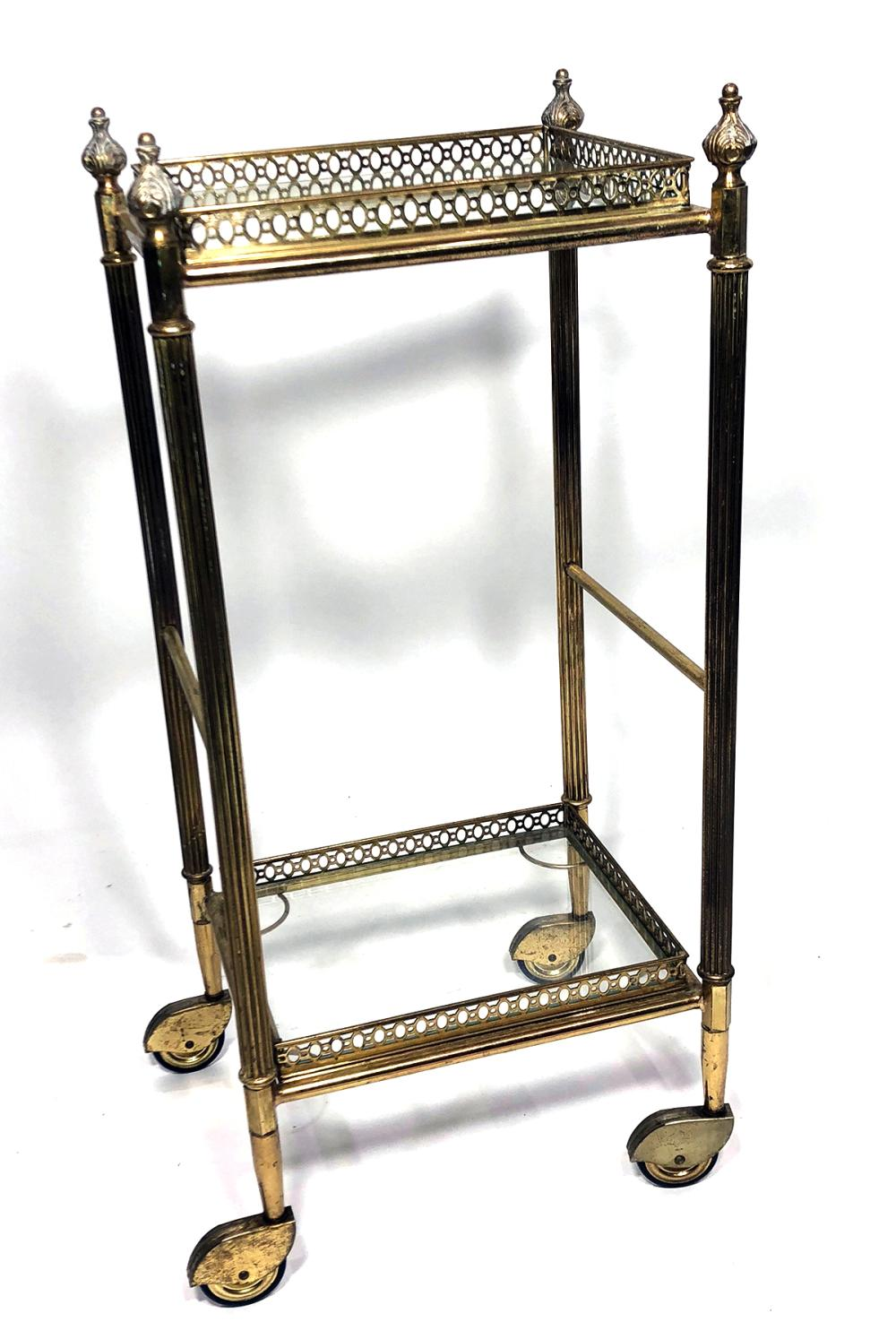 Gilt Metal Two Tier Square Rolling Etagere