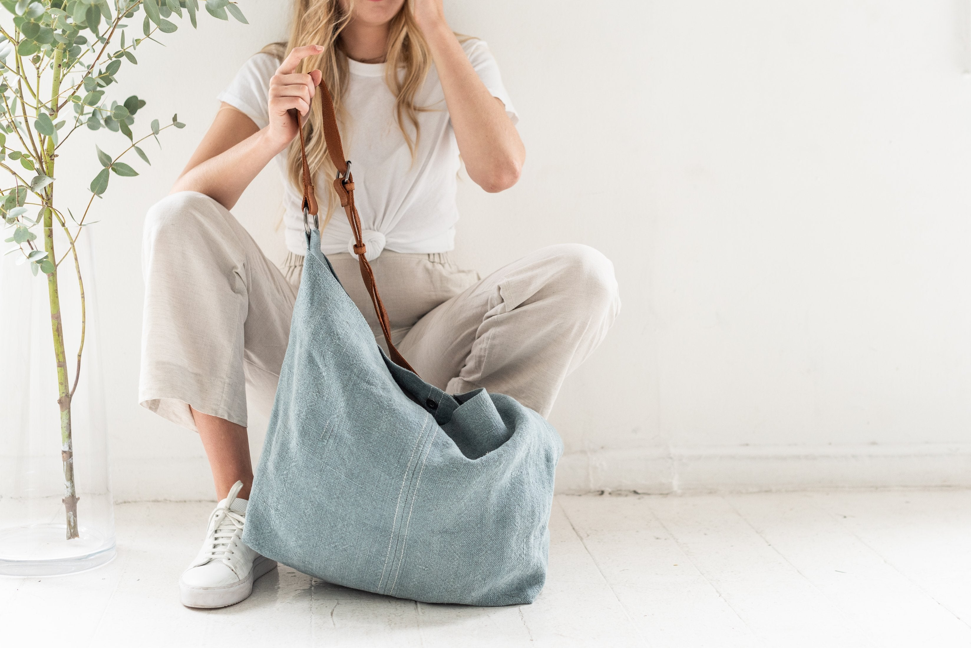 French Blue Jute Bag