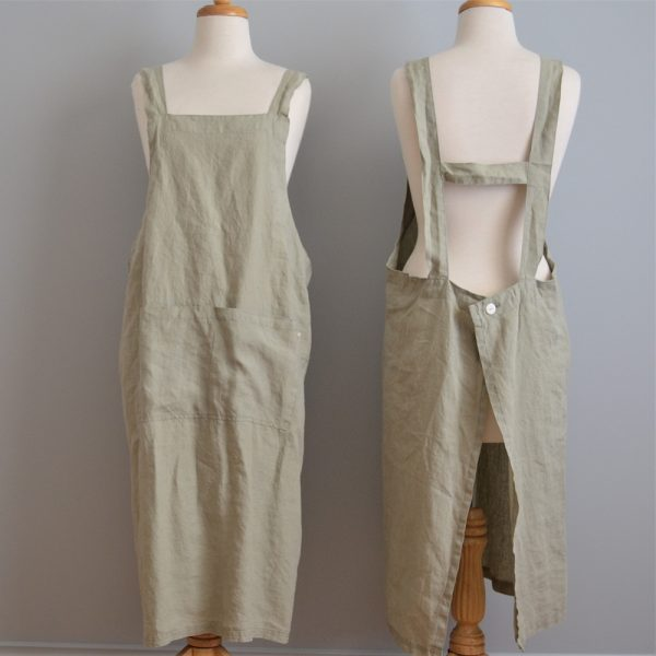 Linen Pinafore Apron in Stone