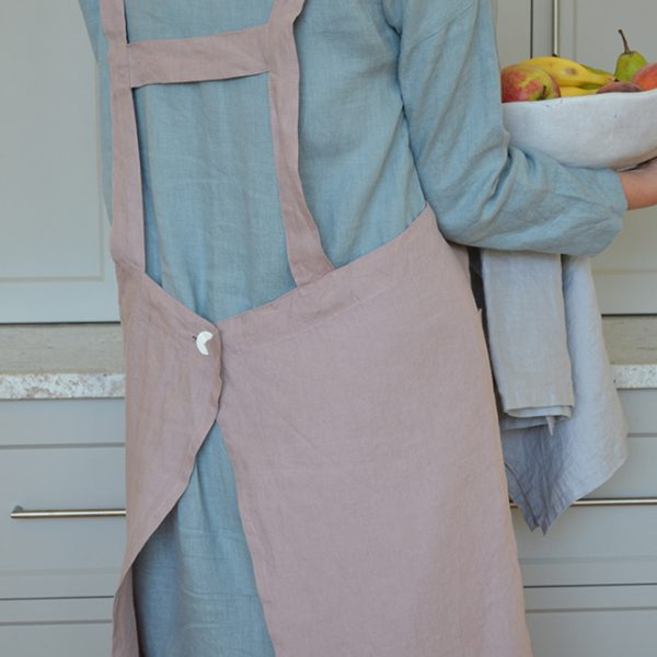 Linen Pinafore Apron in Rose