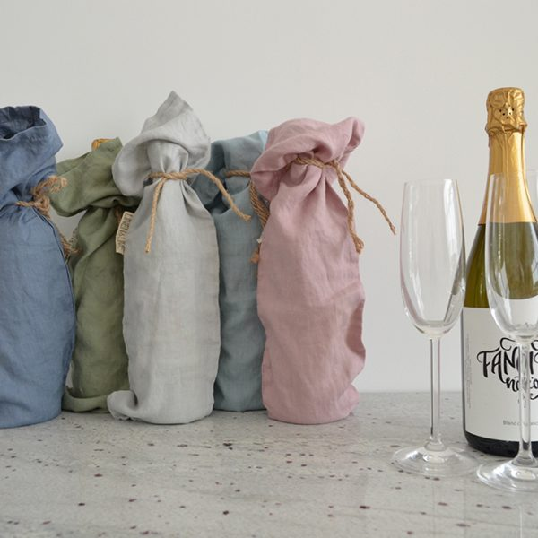 Linen Wine Bag in Old Blue