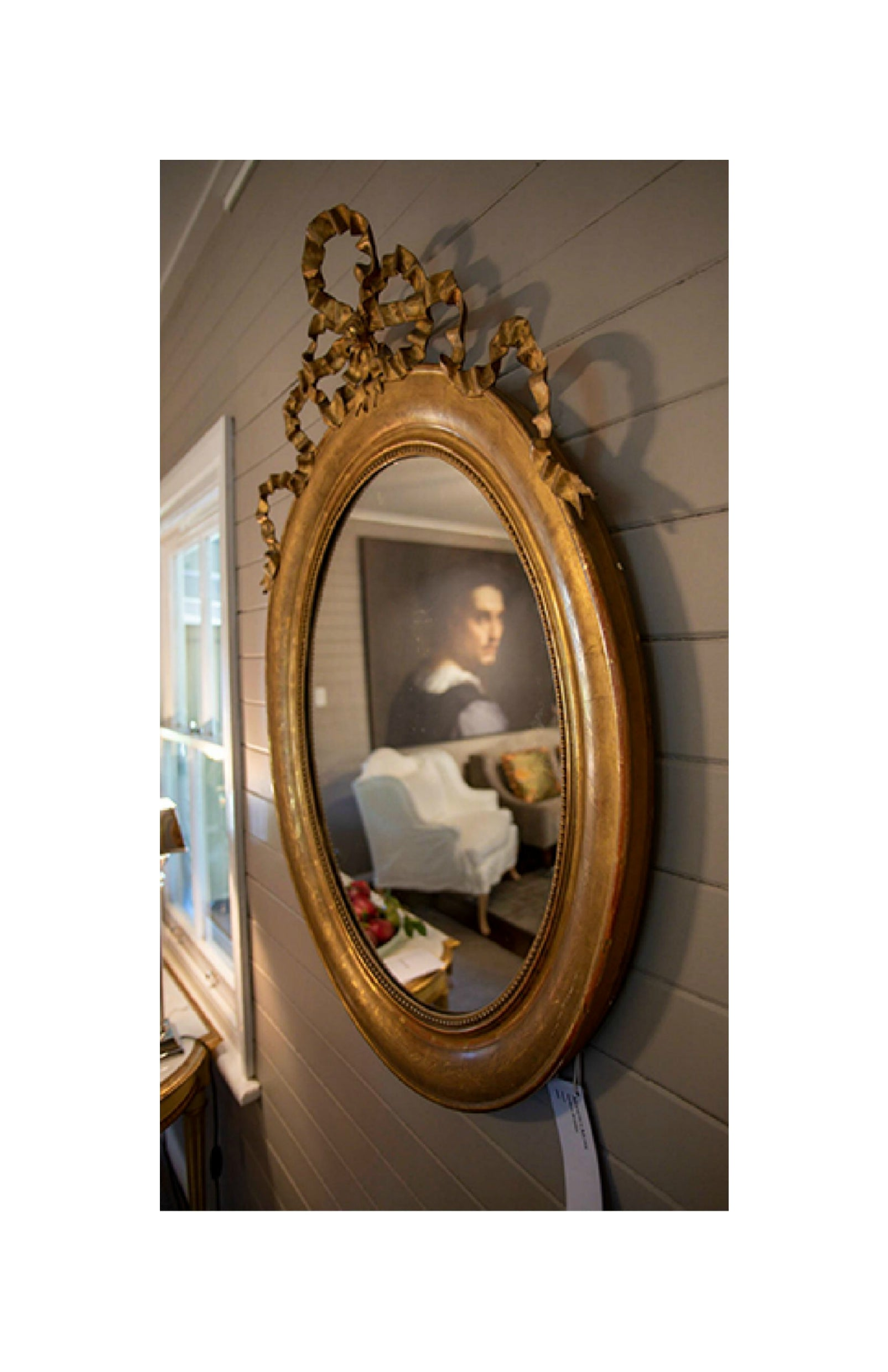 French Oval Mirror with Ribbon Detail