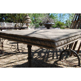 English Stone Table with Contemporary Cast Iron Base