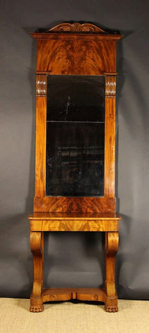 19th Century Mahogany Pier Mirror with Console