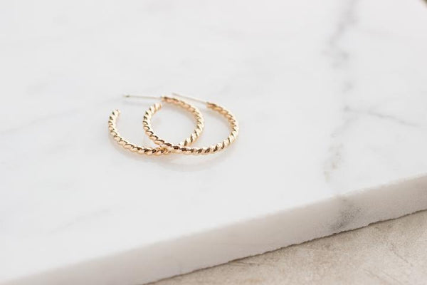 Twist Hoops - 14k Gold