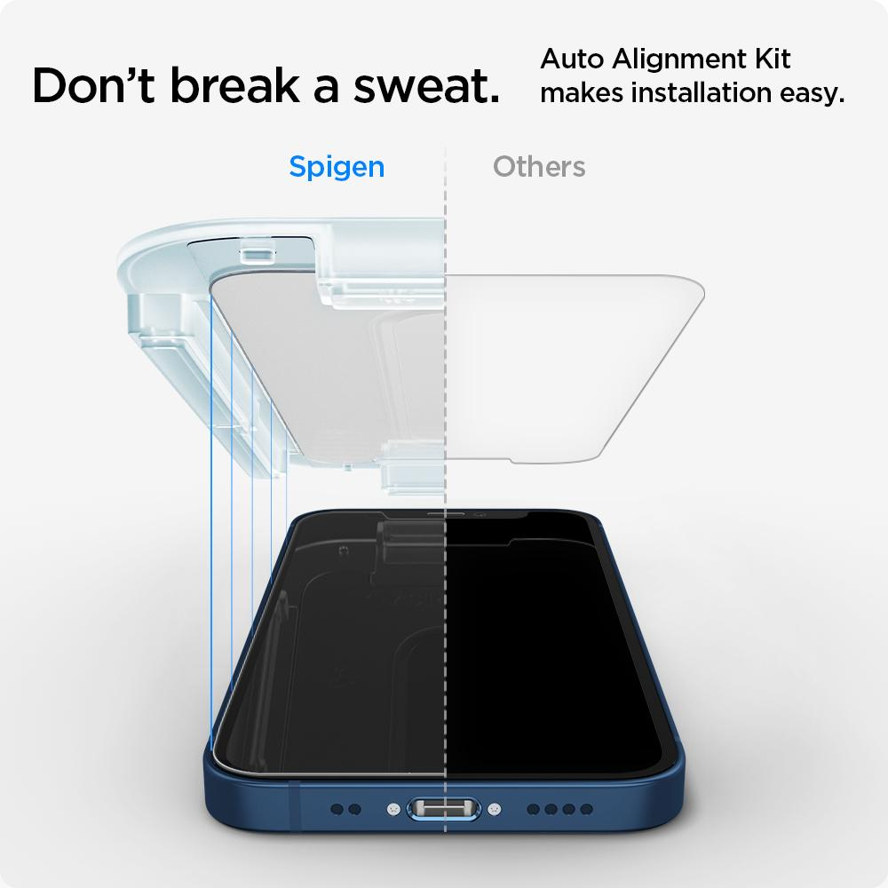 Spigen Screen Protector EZ Fit GLAS.tR Privacy for iPhone 12 mini (5.4-inch)  2Pack