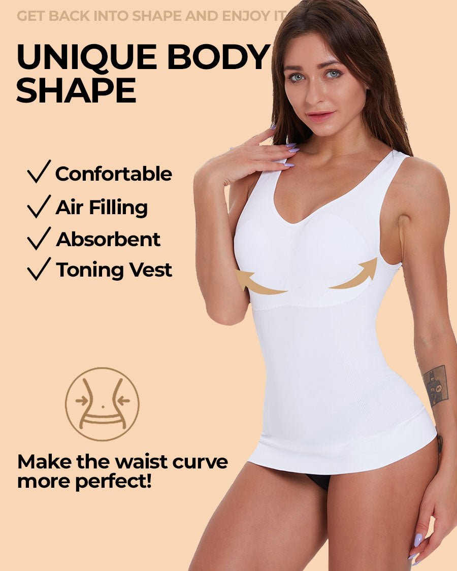 Womens Compression Camisole with Built in Removable Bra Pads Double-Layer Thin Wide Strap Tank Top Seamless Body Shaper WORLDFYF 3 in 1 Sculpting Body Shaping Cami