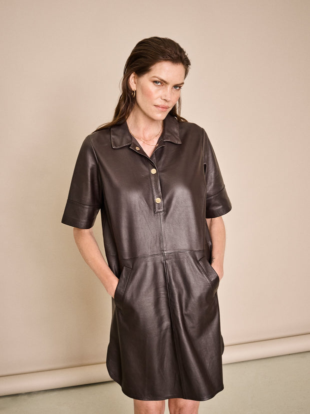 Ester Leather Dress / 664 Molé Brown