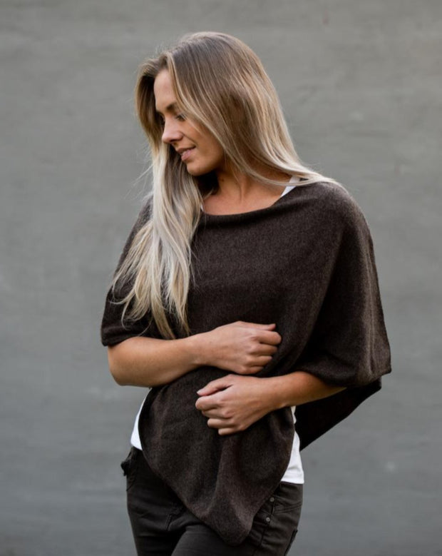 Mini Cashmere Poncho / 150 brown