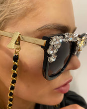 Load image into Gallery viewer, Coco Chain for Eyewear / Mask with Clips - Crystal JetMask