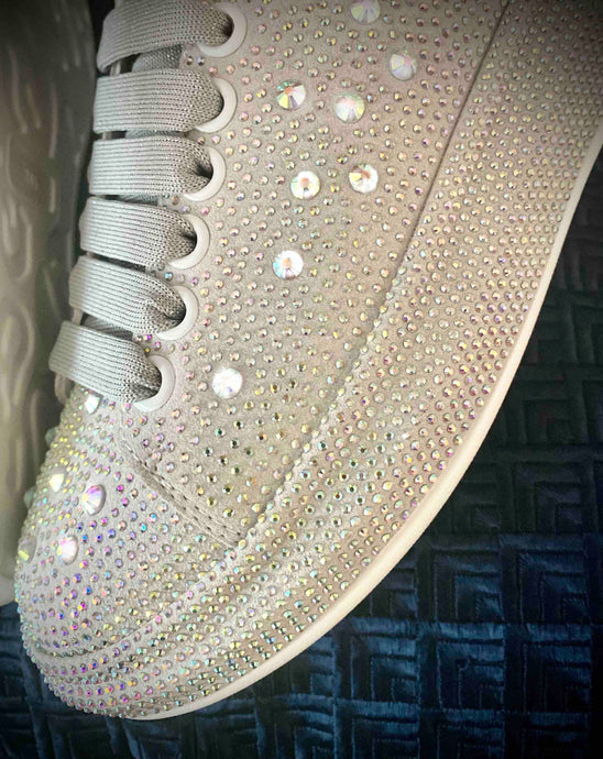 White and light gray SneakyJets Crystallised platform Sneakers. - JetMask