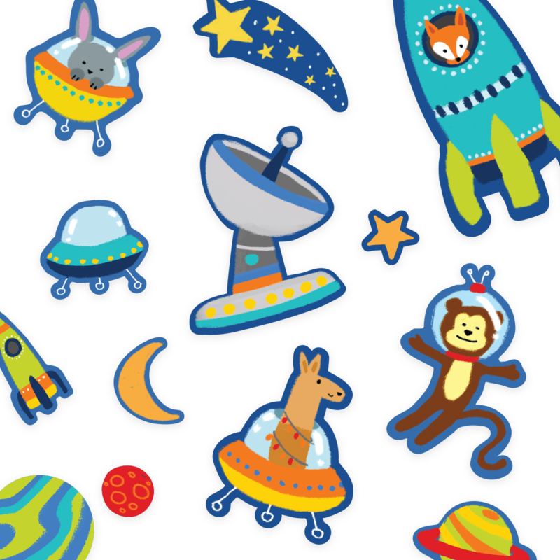 Play Again! Reusable Sticker Scenes: Space Critters