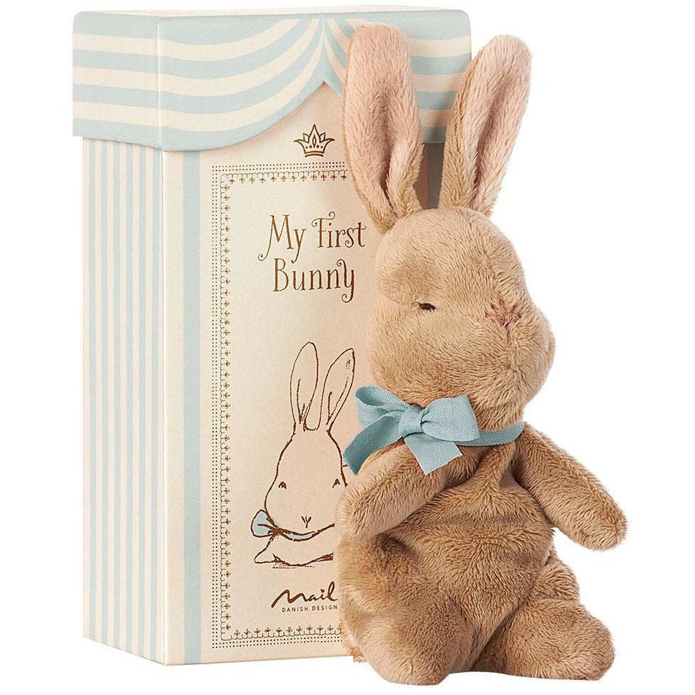 Maileg - My First Bunny in Box, Blue Happy Monkey Baby & Kids