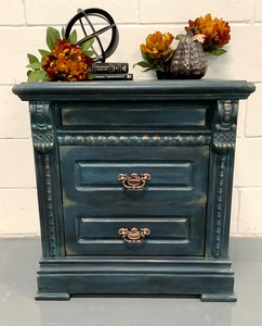 Black, Turquoise, Copper Side Table