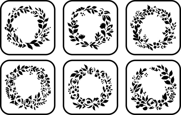 Floral Wreath Mini 6 Pack | JRV Stencils
