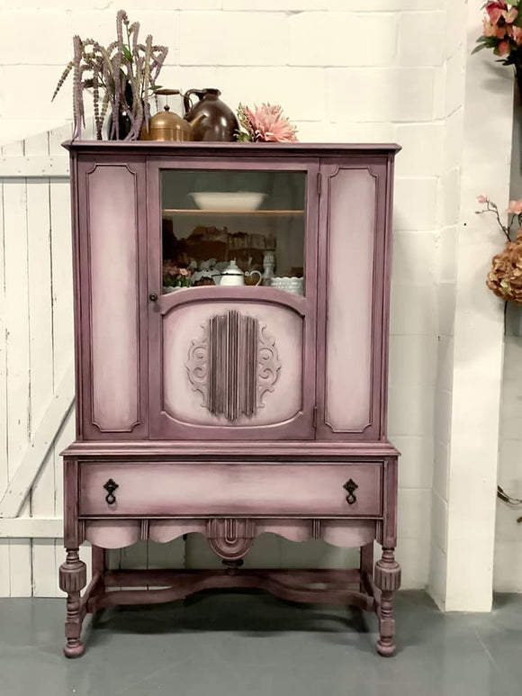 Grey and Plum antique cabinet