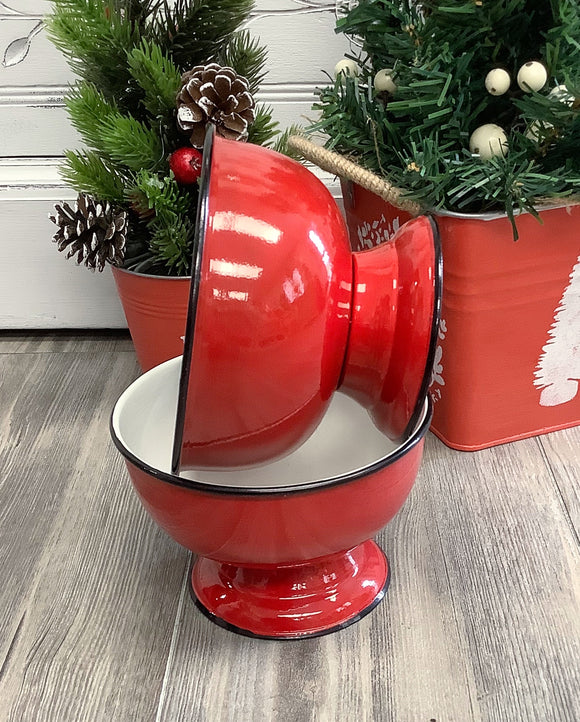 Red Enamel Pedestal Bowl