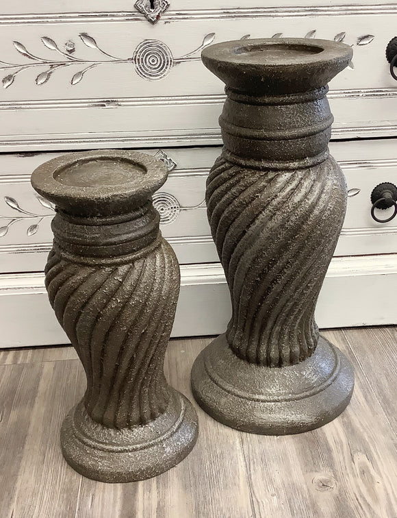 Large cement candlesticks