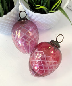 Etched Glass Ornaments - Teardrop