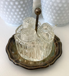 Sterling/crystal condiment dish