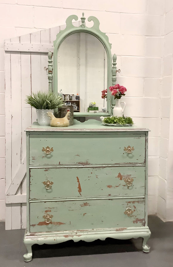 Antique swivel mirror dresser