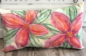 Hand painted floral pillow