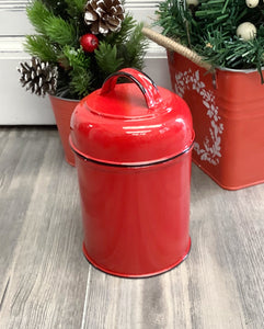 Red Enamel Canister