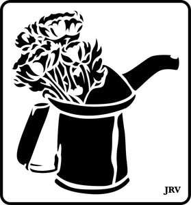 Oil Can with Flowers | JRV Stencils