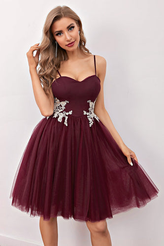Burgundy Short Prom Homecoming Sukienka