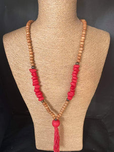 Wooden Sand and Fire Necklace