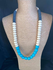 Beaded Blue and White Necklace