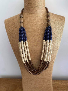 Navy and Tan Beaded Necklace