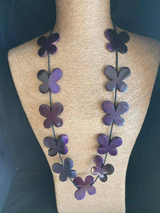 Wooden Floral Necklace - Purple