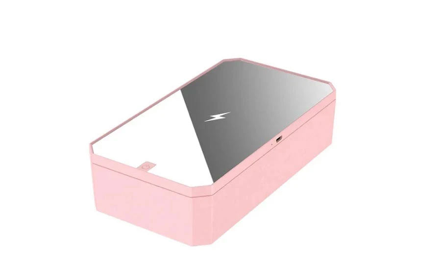 Smartphone Sanitizer & Wireless Charger | Patented & Clinically Proven UV Light Disinfector | (Pink)