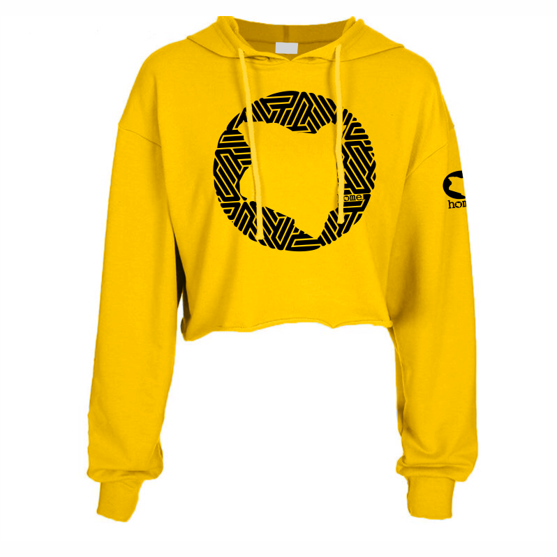 MUSTARD YELLOW CROPPED  HOODIE HEAVY FABRIC