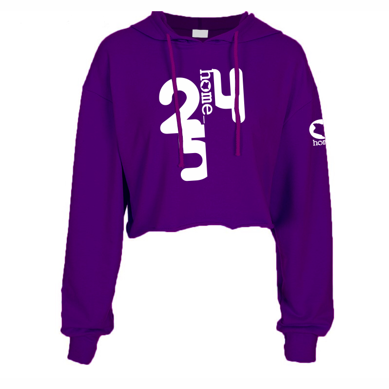PURPLE CROPPED HOODIE HEAVY FABRIC