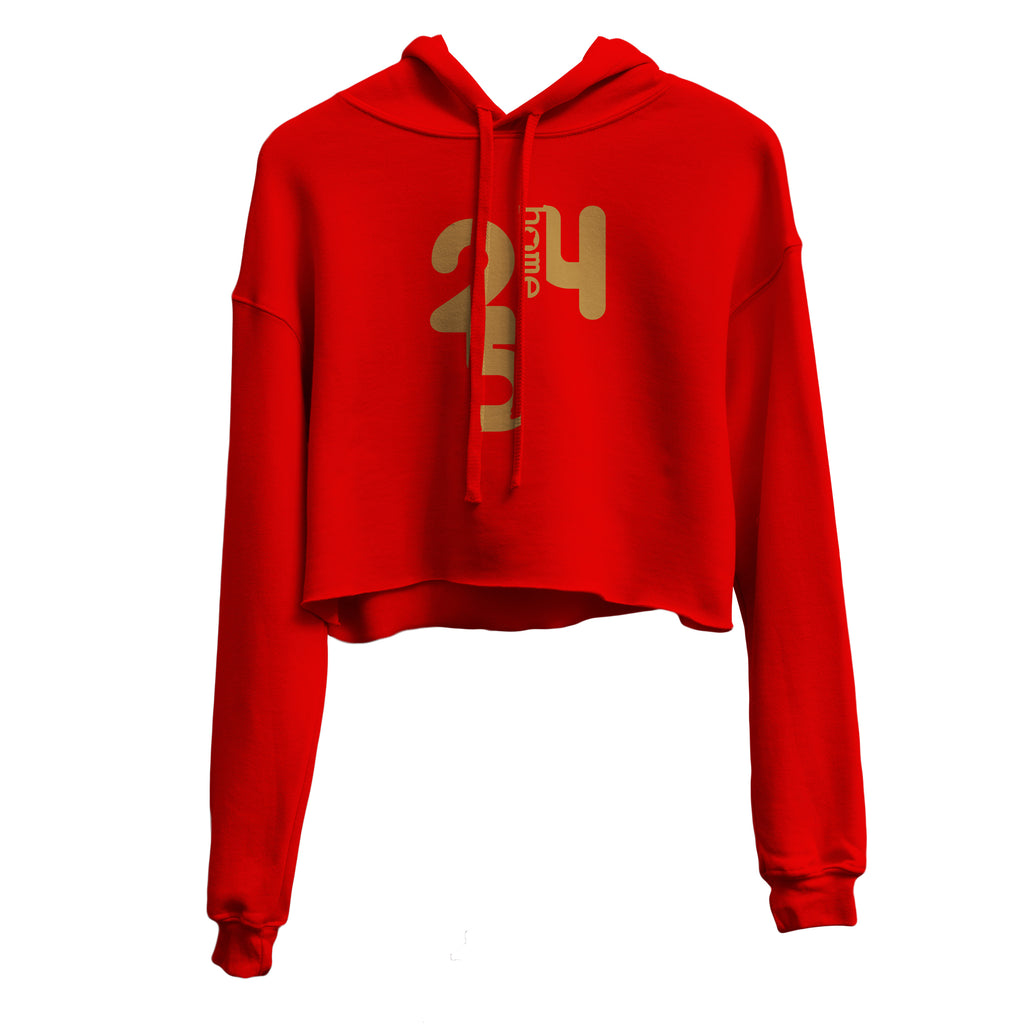 RED CROPPED HOODIE HEAVY  FABRIC