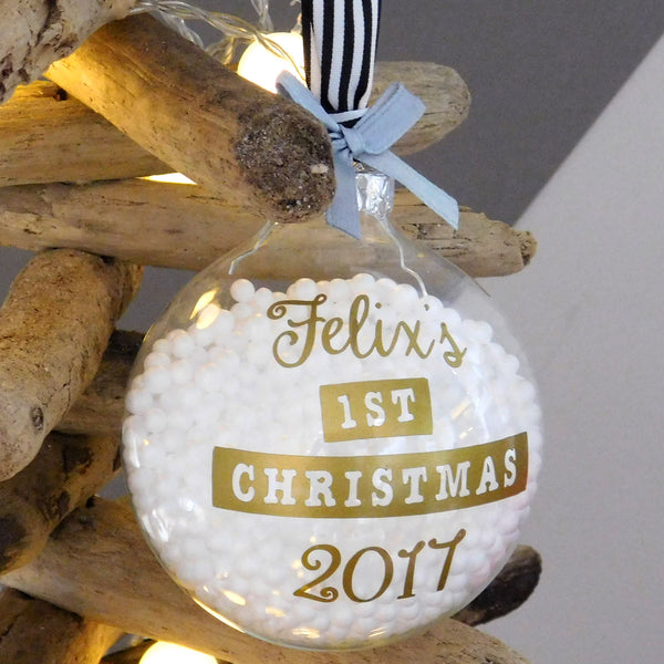 Personalised Baby 1st Christmas Bauble Decoration