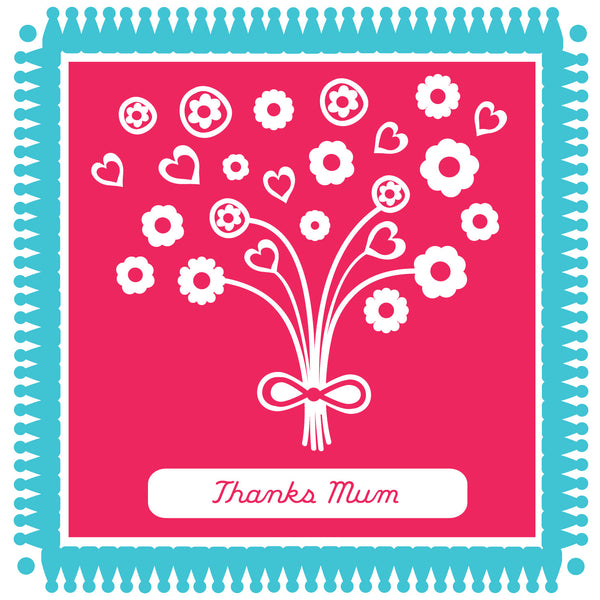 Thanks Mum Blooming Kisses Card