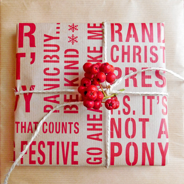 The Naughty Corner Red on Kraft Gift Wrap