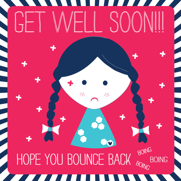 Get Well Soon Girl Freckles Card
