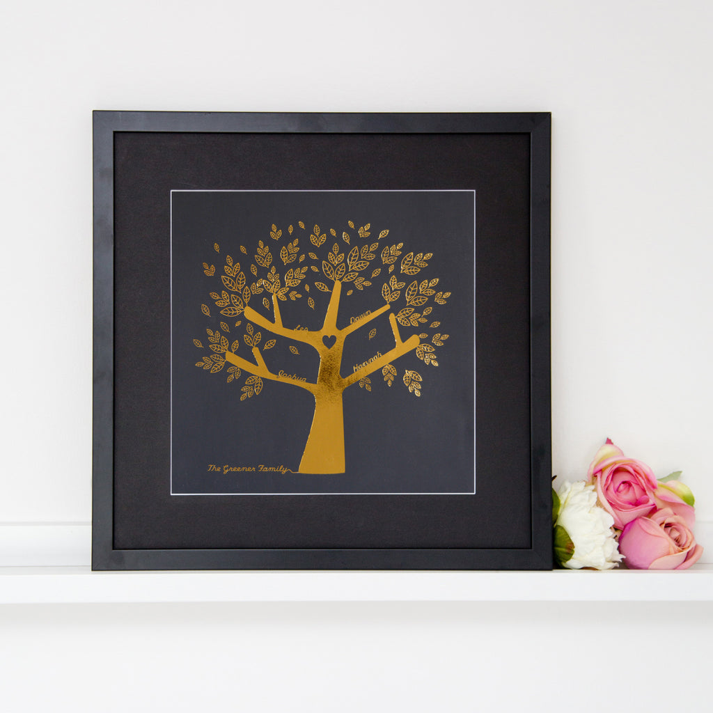 Metallic Personalise Our Family Tree Print