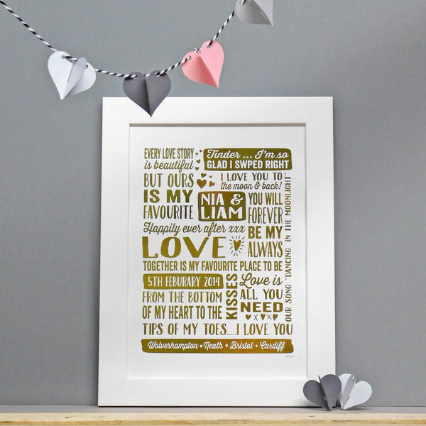 Personalised Valentines Love Print