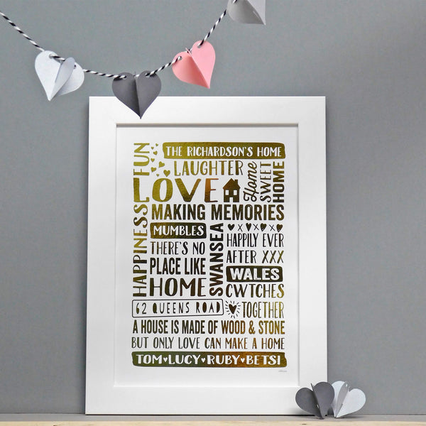 Personalised Our Home Gift Print