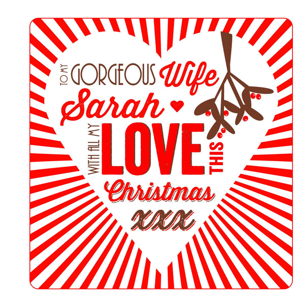 Personalised Wife Christmas Threads Card