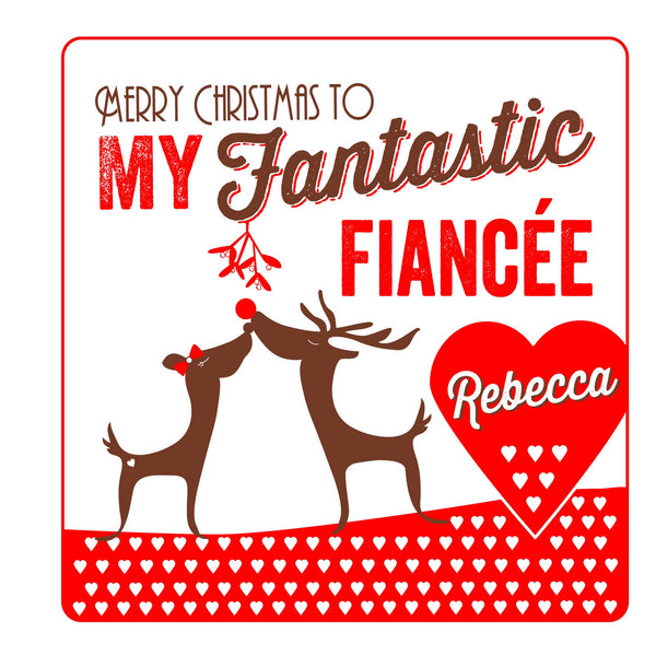 Personalised Fiancée Christmas Threads Card