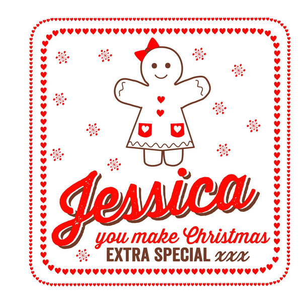 Personalised Gingerbread Girl Christmas Threads Card