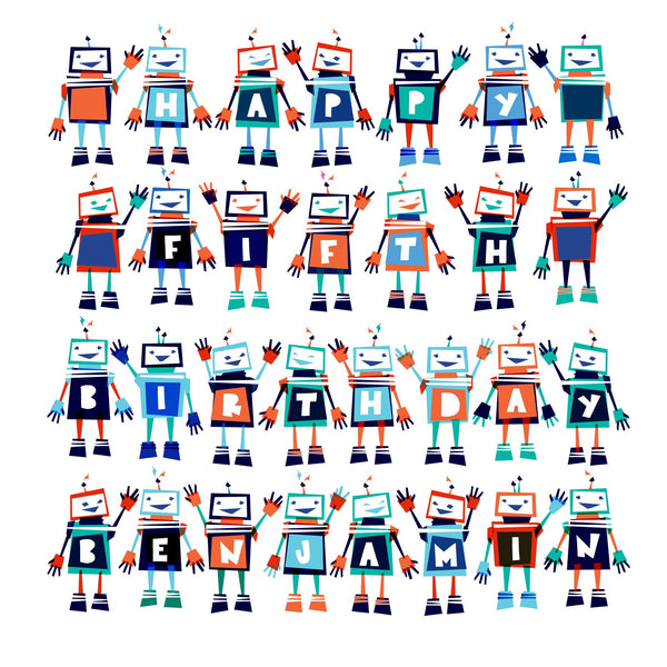 Personalised Robots Party Card
