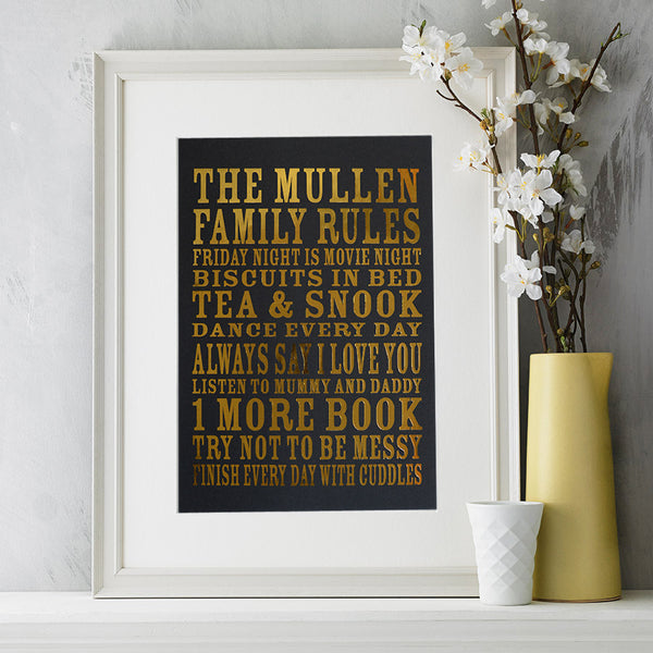 Metallic Personalise Family Rules Print