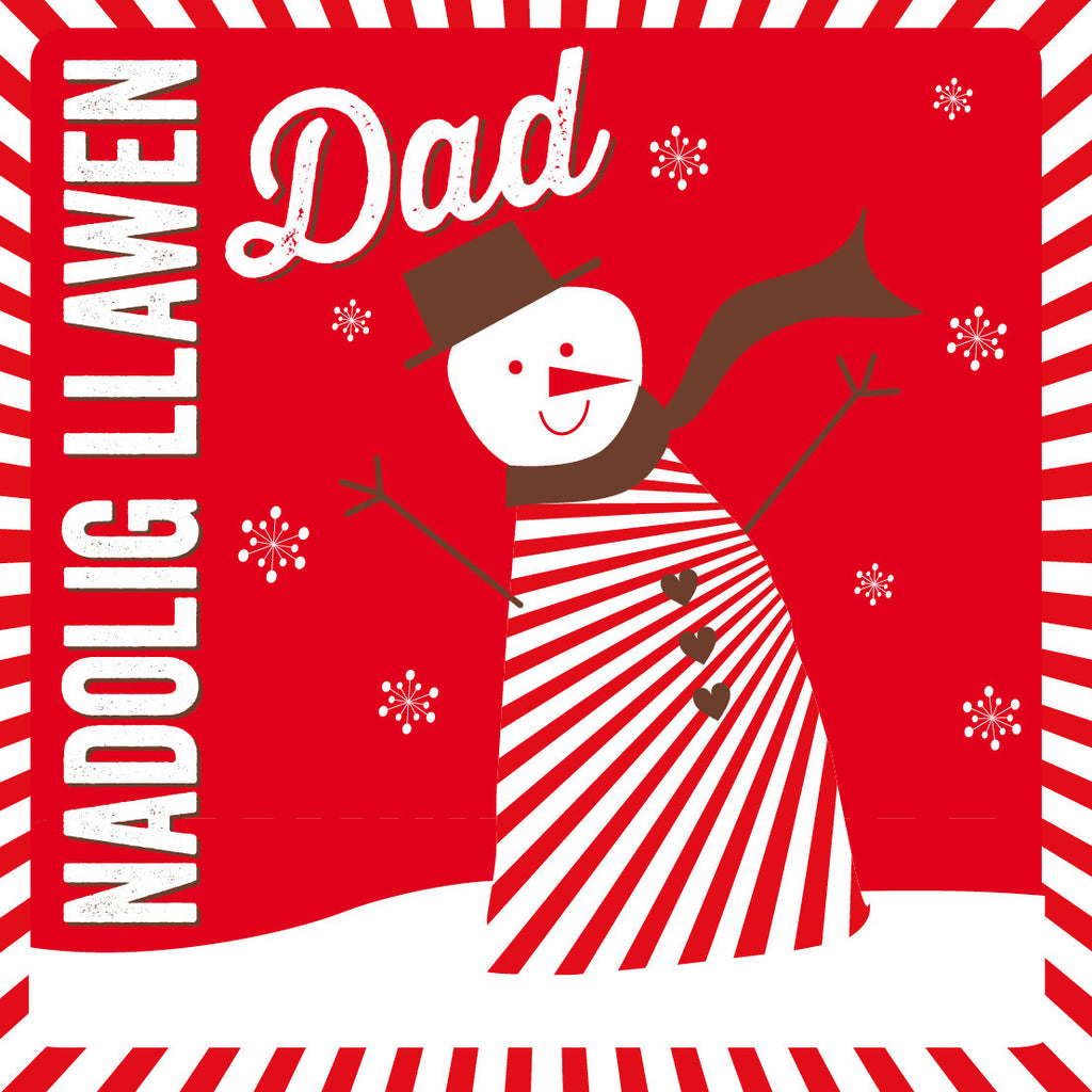Welsh Snowman Merry Christmas Dad Card/ Nadolig Llawen Dad